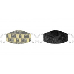 Masque en soie recto-verso De Vinci beige - Noir/Gris