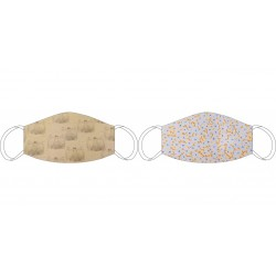 Masque en soie recto-verso De Vinci beige - De Vinci bleu