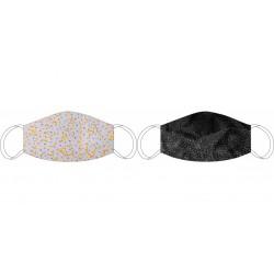 Masque en soie recto-verso De Vinci bleu - Noir/Gris
