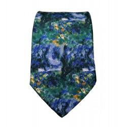 Cravate soie : Cézanne - Paysage bleu